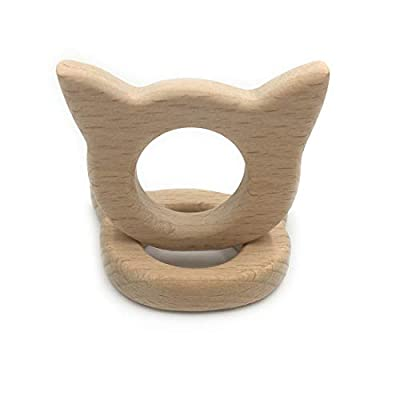 Amyster 10pcs Lovely Cartoon Wood Teether Pure Natural Animal Cat Shape Baby Teething Nursing Beech Teether Baby DIY Pendant Toy (C046-10PCS): Toys & Games