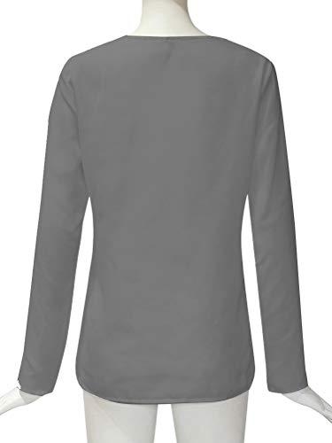V Camicetta Blusa Oversized Elegante Camicia Minetom Top Scollo Lunghe Grigio Chiffon Casuale Maniche Bluse Donna Moda Tunica B4xZZz