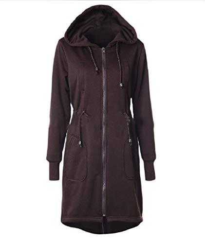 Warm Jacket Winter Plus Coat Coffee Women Tunic Size Fall Pocket XINHEO zfSqX7wx