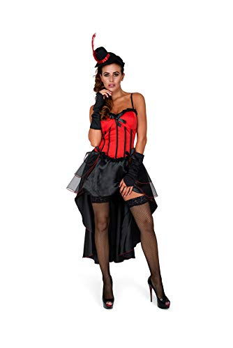 Burlesque Costume, Showgirl Dress Cape Women, Red and Black, Small