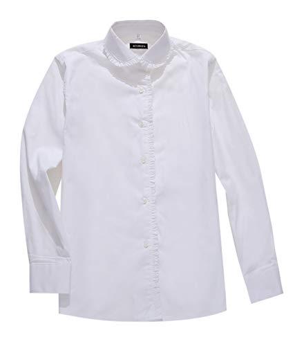 AOLIWEN Girl's White Long Sleeve Ruffle Shirts School Uniform Blouse (XL(11-12 Years), White)