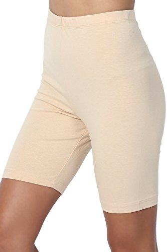 TheMogan Women's Mid Thigh Cotton High Waist Active Short Leggings Sand (Below Knee Leggings)