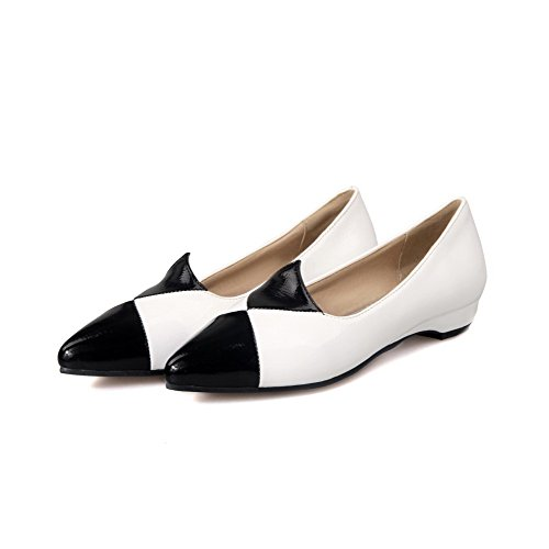 Allhqfashion Womens Puntige Neus Pull On Blend Materialen Diverse Kleur Lage Hakken Pumps-schoenen Wit