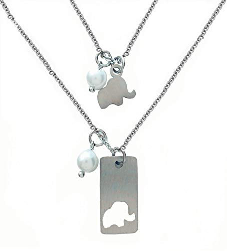 21f30f0964c 2PCS Mother Daughter Necklace Set - Mother Daughter Set for Two Matching  Elephant Necklaces - Mom