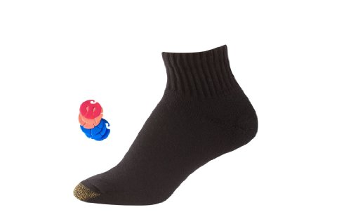 Gold Toe Men's Cotton Quarter Athletic Socks 6-Pack / 6 Free Sock Clips Included (Black) Shoe size 6-12.5 (Sock size (Gold Quarter Socks)