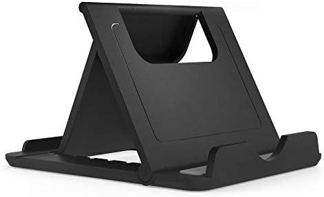 DFV mobile - Holder Desk Universal Adjustable Multi-angle Folding Desktop Stand for Smartphone and Tablet for Vivo iQOO Pro 5G (2019) - Black