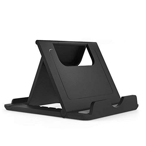 DFV mobile - Holder Desk Universal Adjustable Multi-Angle Folding Desktop Stand for Smartphone and Tablet for => LEAGOO M9 PRO > Black