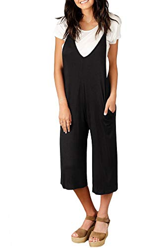 Spadehill Women Sleeveless Loose Jumpsuits Casual Overalls Wide Leg Pocket Strap Long Pants Rompers Black S