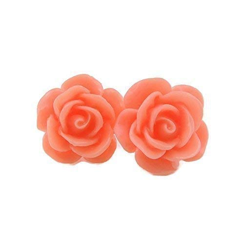 Large Rose Earrings on Plastic Posts for Metal Sensitive Ears, Coral Pink
