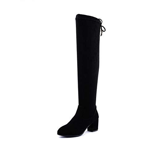 HOESCZS 2019 Frauen Über Die Kniehohe Stiefel Reißverschluss Mode Frauen Schuhe Winter Stiefel Platz High Heel Frauen Stiefel Größe 34-43