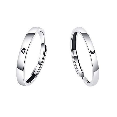 Sun and Moon Star Couples Ring Matching Set Forever Love Promise Wedding Rings(Couple)