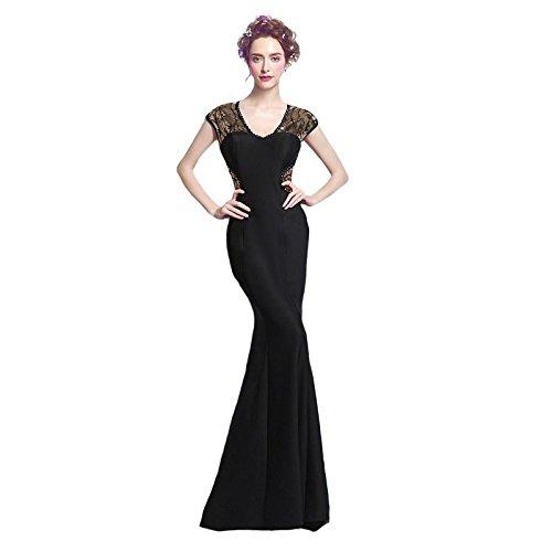 Sexy Élégant Soirée V De 14 Cou Parti Robe En Manches Broderie Sun Robe Banquet Goddess Noir Satin Black 4 Robe Paillettes Sans FWTCz