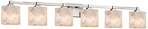 Light Bath Bar Oval Shades - Justice Design Group Lighting ALR-8436-30-NCKL-LED6-4200 Alabaster Rocks Regency LED 6-Light Bath Bar Finish Oval Shade, Brushed Nickel