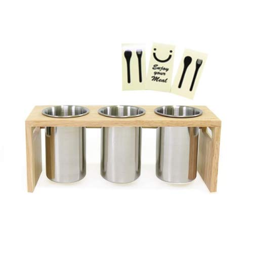 R'LEYAH Staninless Utensil Holder 3p + Wooden Support + Sticker 3p by RLE