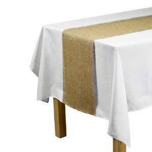 SPRINGROSE Huge 12 Inch x 120 Inch Burlap Jute Table Runner (set of 10). Make Your Reception Pop with These Gorgeous Wedding Decorations. A Must Have For Your Party Supplies. -