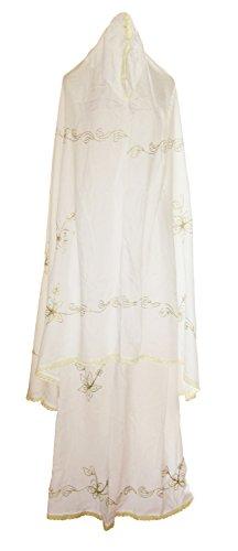 White Embroidered Lace Trim Abaya Mukina Hijab Islamic Muslim Women's Prayer Garment (Yellow Lace)