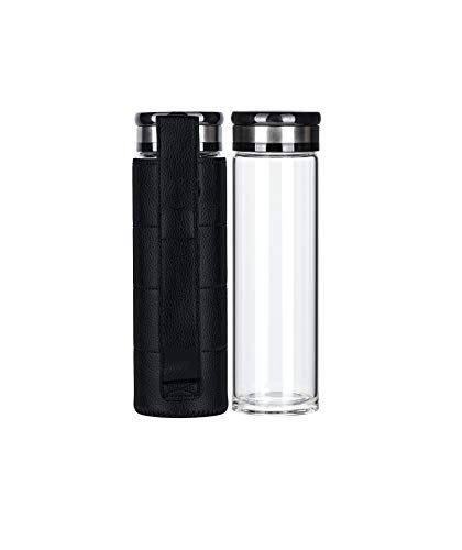 ELDR Supply 17oz Glass Water Bottle with Faux Leather Sleeve, Easy to Clean 2-Inch Wide Mouth Thermos, Handmade Clear…  