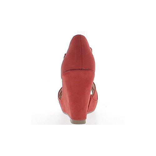 Sandales compensées rouges à talons de 10cm avec plateforme et bride cheville aspect daim
