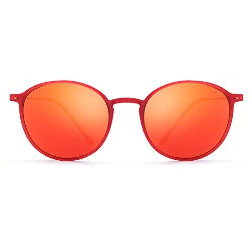 TLMY Redondas Polarizadas para Gafas Frame Ultraligeras Lens Retro Mujer De Lens Sol Gafas Color Frame Pink Sol Red Gafas De Y Hombre Blue Sol Gold de rqtwIvr