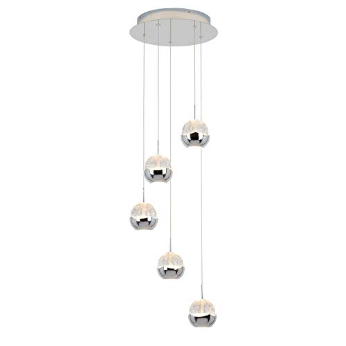 Artika ORA5L-C1 Oracle 5 LED-Integrated Pendant Lamp Energy Star, Chrome (Lamps Pendant Led)