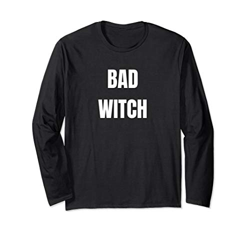 (BAD WITCH WHITE FONT LONG SLEEVE HALLOWEEN)