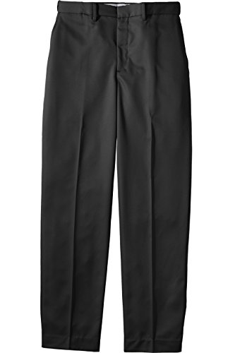 Microfiber Dress Pants (Ed Garments Men's Brass Zipper Flat Front Dress Pant, BLACK, 34 34)
