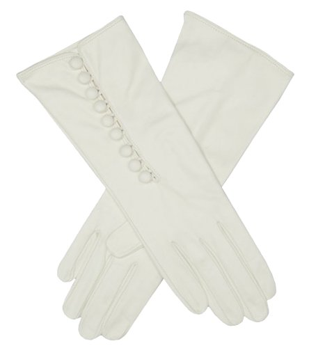 Fratelli Orsini Women's Italian Silk Lined Gloves with Buttons Size 6 1/2 Color White by Fratelli Orsini