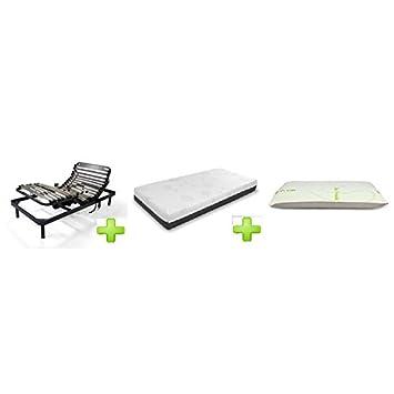 AMUEBLALO - Pack Gematic - Somier Articulado + Colchon Viscogel + Almohada - 105X190: Amazon.es: Hogar