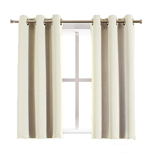 Aquazolax Blackout Curtain Panels for Bedroom - Thermal Insulated Grommet Top Blackout Draperies and Drapes for Kitchen Window, 2 Panels, W42 x L45 -Inch, Beige