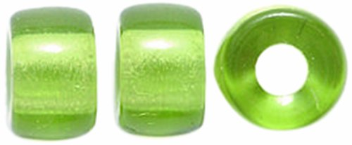 Olive Green Glass Beads - Preciosa Ornela Traditional Czech Glass Crow Roller 80-Piece Beads, 9mm, Transparent Dark Olive Green