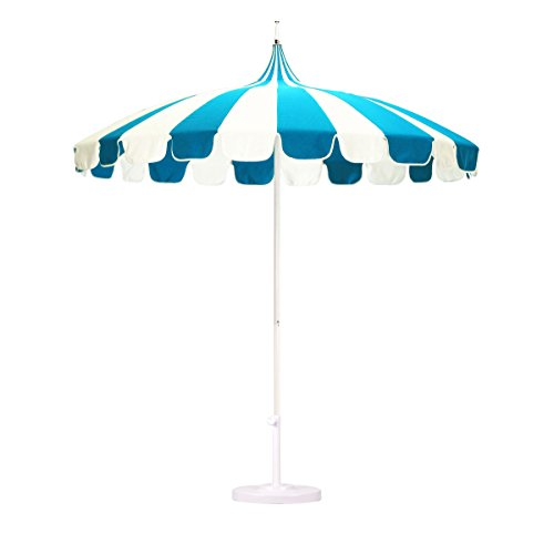 California Umbrella 8.5' Rd. Pagoda Market Umbrella, Silver Pole, 100% Acrylic Blue/White Pacifica Fabric