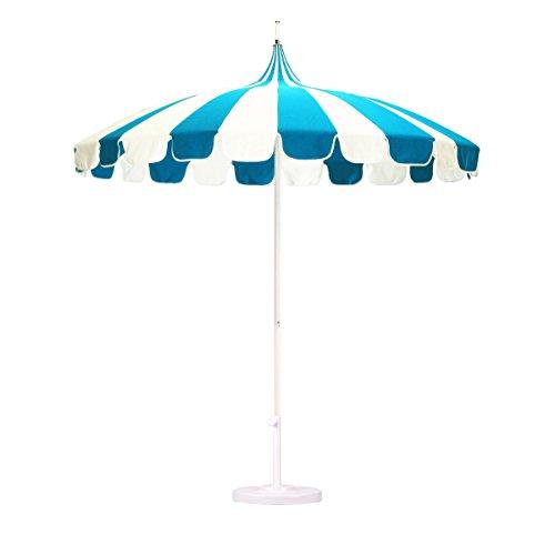 California Umbrella 8.5' Rd. Pagoda Market Umbrella, Silver Pole, 100% Acrylic Blue/White Pacifica Fabric (Acrylic Umbrella)