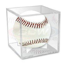 BallQube Grandstand Baseball Holder Display - A BETTER WAY TO DISPLAY Sports Memoriablia Display Case, Standard UV -