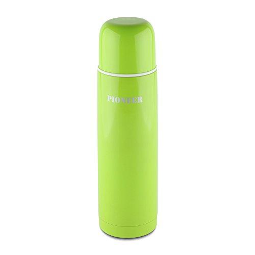 Grunwerg Stainless Steel Coloured Drinks Flask in Green, 500ml/ 17 floz HCF-500G