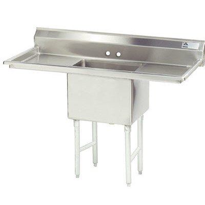 "72"" x 30"" Single Fabricated Bowl Scullery Sink -  Advance Tabco, FC-1-2424-24RL"