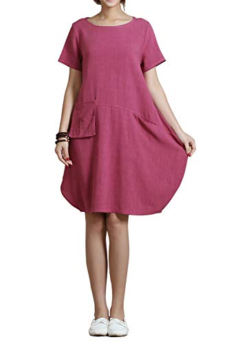 Anysize Spring Summer Soft Linen Cotton Lantern Loose Dress Plus Size Clothing Y18 Rosy Red