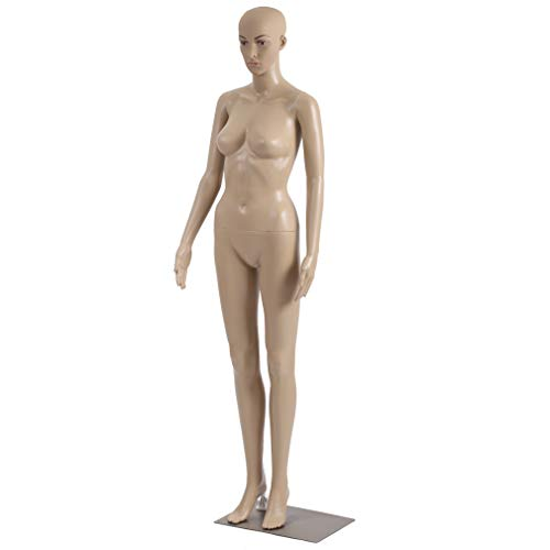 Mannequin Manikin Dress Form 69 Inch Adjustable Dress Model Female Full Body Mannequin Stand Realistic Mannequin Display Head Turns W/Metal Base