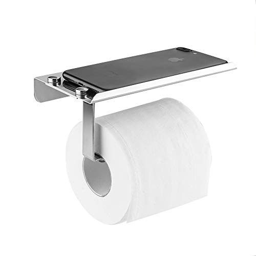 devesanter Toilet Roll Paper Holder Wall Mounted Self Adhesive Bathroom Tissue Dispenser Stainless Steel Toilet Paper Roll Storage with Mobile Phone Holder Stand