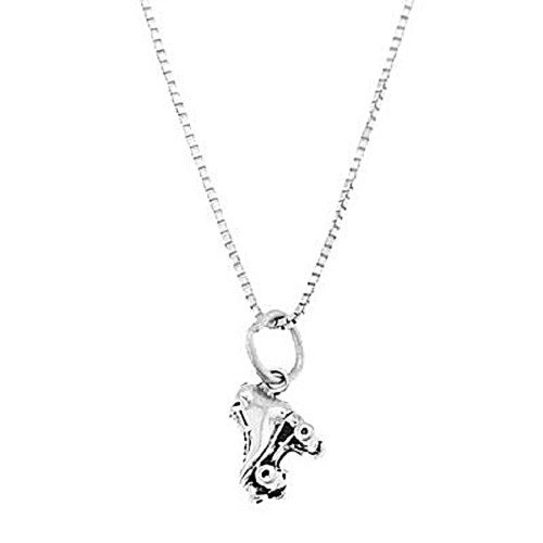 Lgu Sterling Silver Oxidized Three Dimensional Small Single Roller Skate Necklace (16 Inches)]()