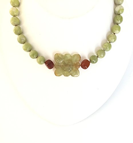 - Yellow-Green Brown Necklace Jade Flower. One-of-a-Kind