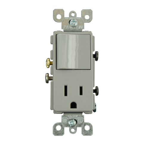 Leviton 5625-GY 15 Amp, 120 Volt, Decora Single-Pole, AC Combination Switch, Commercial Grade, Grounding, Gray - Grade Wall Switch