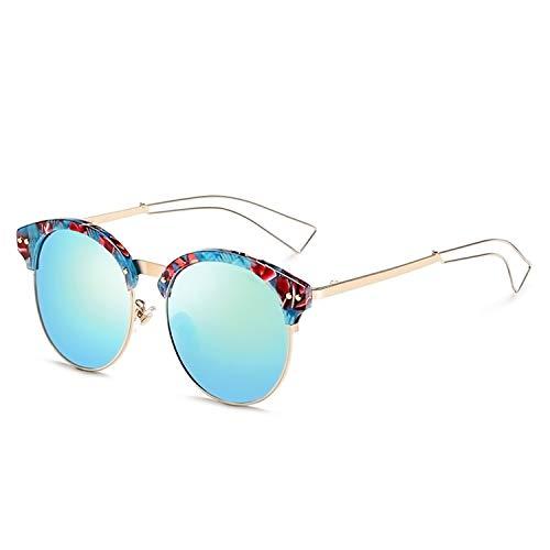 Retro Round Sunglasses Polarized Glasses For Driver Colorful Frame Hollow Leg Glasses 9660,Blue