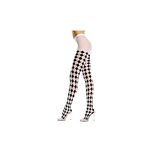 Music Legs Harlequin Design Tights Black/White One Size Fits Most