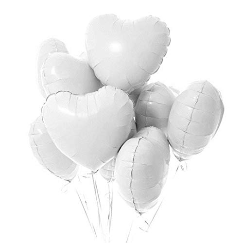 10Pcs 18Inch Pink White Rose Gold Heart Foil Balloons Baby Shower Birthday Helium Globos Wedding Party Love Decoration Supplies White Heart ()
