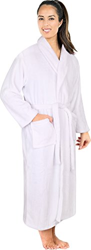 NY Threads Women's Fleece Bathrobe- Shawl Collar Ultra-Soft Spa Robe- Comfortable, Absorbent and Durable - by (Large, White)