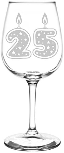 (25th) Glitter & Stars Birthday Cake Candle Inspired - Laser Engraved 12.75oz Libbey All-Purpose Wine Taster Glass ()