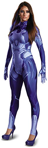 Disguise Womens HALO Cortana Adult Bodysuit Costume, Blue, Medium