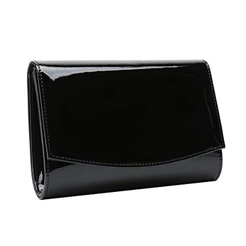 Charming Tailor Patent Leather Flap Clutch Classic Elegant Evening Bag Chic Dress Purse (Black)