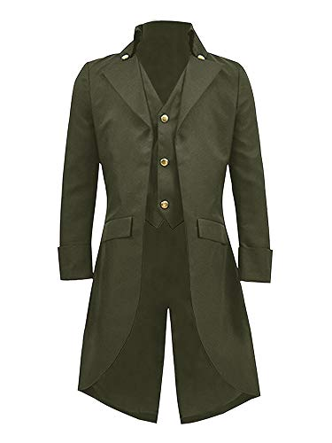 Ruanyu Men's Steampunk Vintage Tailcoat Jacket Gothic Victorian Frock Black Steampunk Coat Uniform Costume (Small, Army Green)