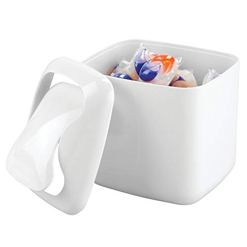 (mDesign Small Mini Plastic Modern Laundry Storage Organizer Bin with Swing Lid for Utility Room Countertop, Tabletop - Store Laundry Detergent, Laundry Pods, Fabric Softener, Clothes Pins - White)